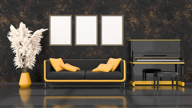 Intérieur noir avec piano noir et jaune, canapé et cadre pour maquette, illustration 3d
