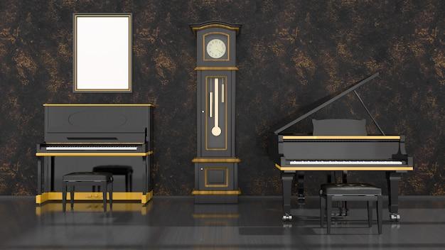 Intérieur noir avec piano noir et jaune, piano à queue et cadre pour maquette, illustration 3d