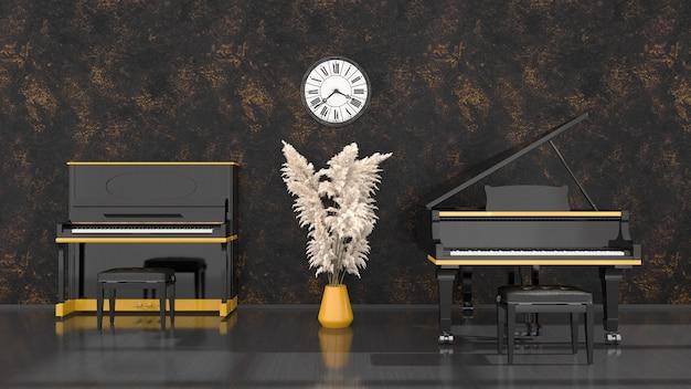 Intérieur noir avec piano noir et jaune, piano à queue et horloge antique, illustration 3d