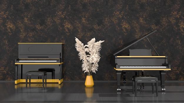 Intérieur noir avec piano noir et jaune et piano à queue, illustration 3d