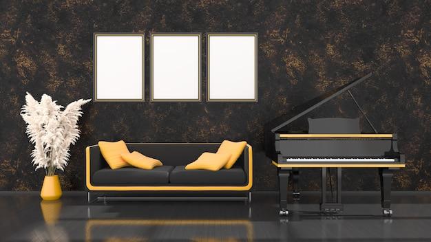 Intérieur noir avec piano à queue noir et jaune, canapé et cadre pour maquette, illustration 3d