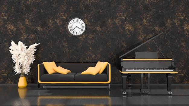 Intérieur noir avec un piano à queue noir et jaune, un canapé et une horloge antique, illustration 3d