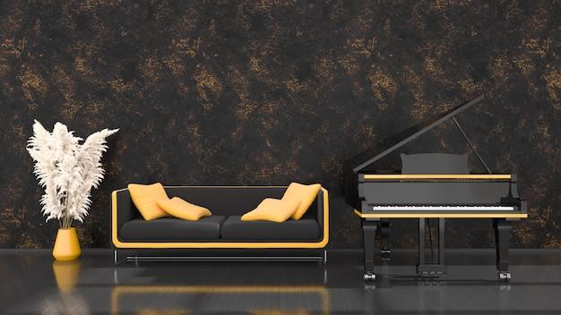 Intérieur noir avec un piano à queue noir et jaune et un canapé, illustration 3d