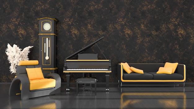 Intérieur noir avec un piano à queue noir et jaune, horloge antique et canapé, illustration 3d
