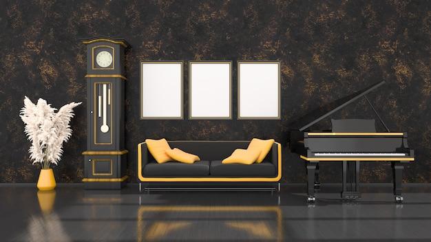Intérieur noir avec piano à queue noir et jaune, horloge vintage et cadre pour maquette, illustration 3d