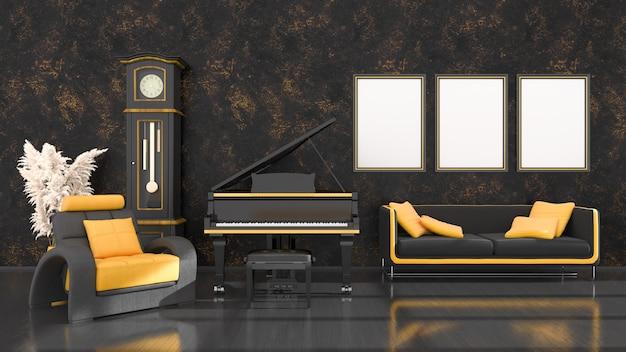 Intérieur noir avec piano à queue noir et jaune, horloge vintage et cadres pour maquette, illustration 3d