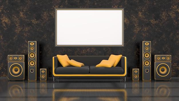 Intérieur noir avec système de haut-parleur noir et jaune de conception moderne, canapé et cadre pour maquette, illustration 3d