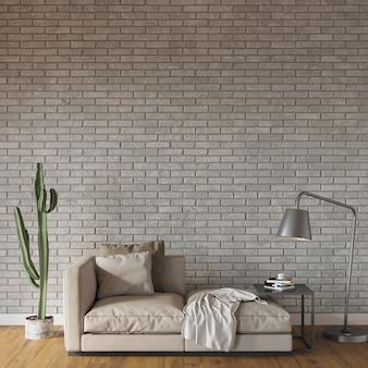 Intérieur d'une pièce avec des meubles devant le mur de briques