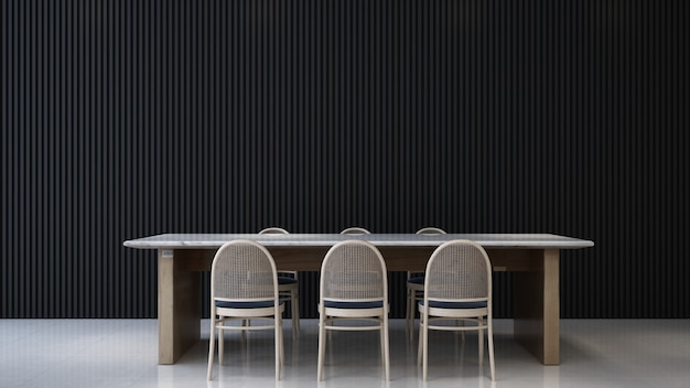 Intérieur de la pièce sombre, intérieur de la salle à manger minimal, mur de modèle en bois vide, rendu 3d