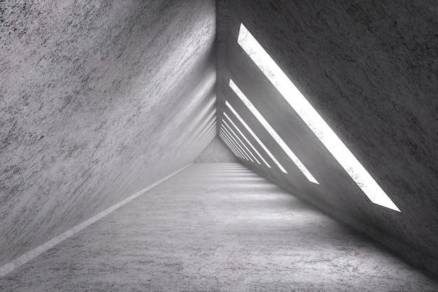 Intérieur de pièce vide de rendu 3d avec la forme de triangle