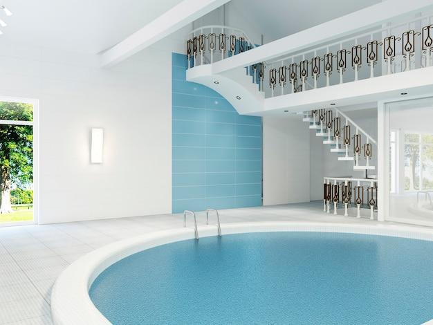 L'intérieur de la piscine dans une maison privée est de style moderne. rendu 3d.