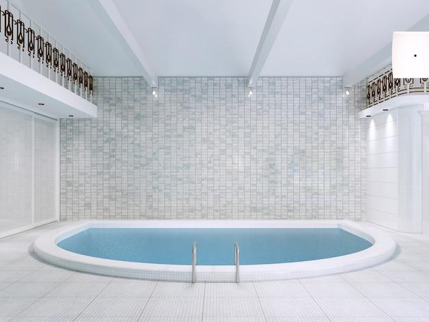 L'intérieur De La Piscine Dans Une Maison Privée Est De Style Moderne. Rendu 3d. Photo Premium