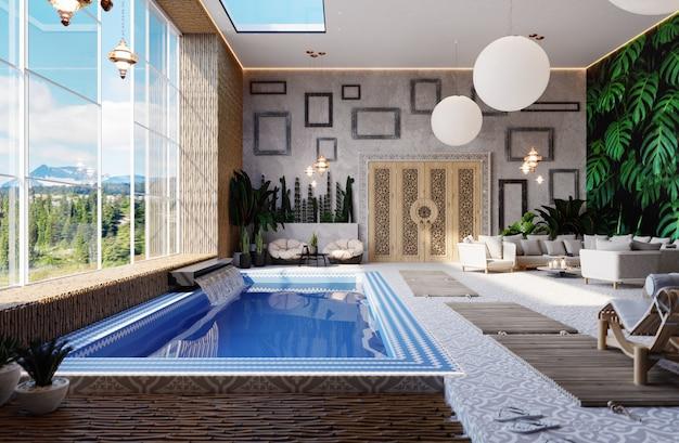 Intérieur de la piscine à l'intérieur dans un style oriental. complexe thermal. piscine bordée de carreaux de céramique bleus et blancs. rendu 3d