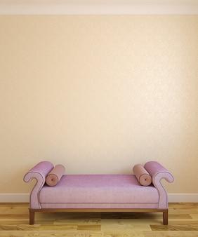 Intérieur avec pouf violet près du mur vide. rendu 3d.