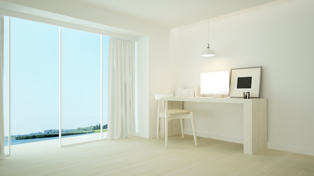 L'intérieur relaxe l'espace rendu 3d et blanc minimal