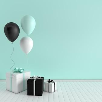 Intérieur de rendu 3d avec des ballons et une boîte-cadeau avec un arc dans la chambre