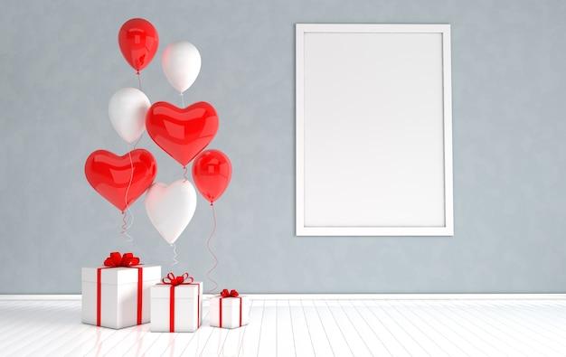 Intérieur de rendu 3d avec des ballons réalistes, maquette de cadre d'affiche, boîte-cadeau dans la chambre