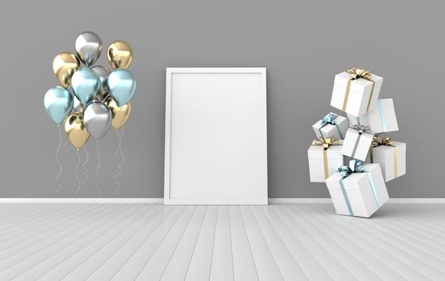 Intérieur de rendu 3d avec coffrets cadeaux, affiches et ballons