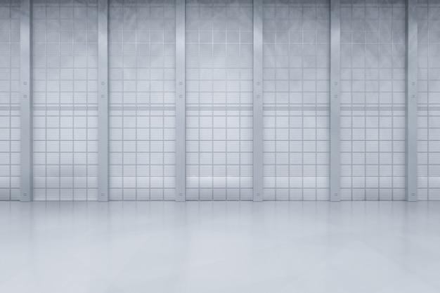 Intérieur de rendu 3d propre usine ou entrepôt vide
