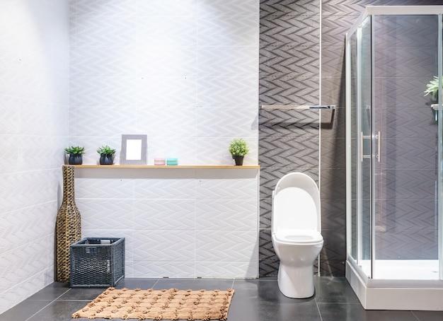 Intérieur de la salle de bain aux murs blancs, cabine de douche avec paroi en verre, toilettes et lavabo