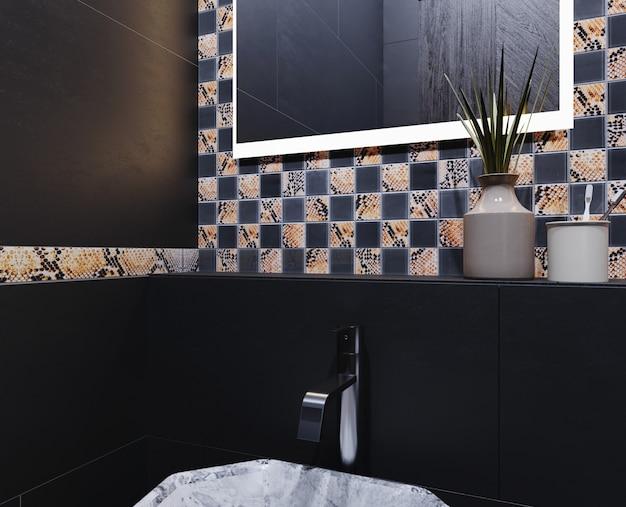 Intérieur de salle de bain moderne aux couleurs sombres avec mur de carreaux de céramique à carreaux. rendu 3d