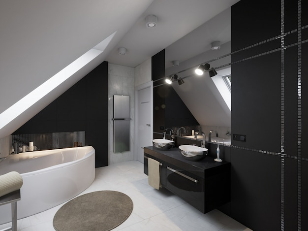 Intérieur de salle de bain moderne avec lavabo et toilette