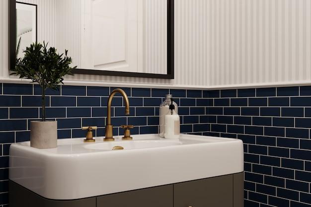Intérieur de salle de bain moderne avec des murs carrelés bleus. rendu 3d. style classique.
