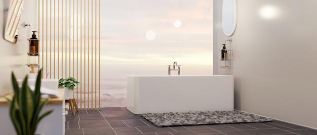 Intérieur de salle de bains spacieuse de luxe avec baignoire sur vue sur le ciel en arrière-plan rendu 3d