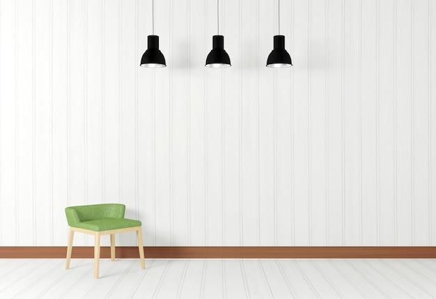 Intérieur de la salle blanche dans un style minimaliste avec des chaises vertes, rendu 3d