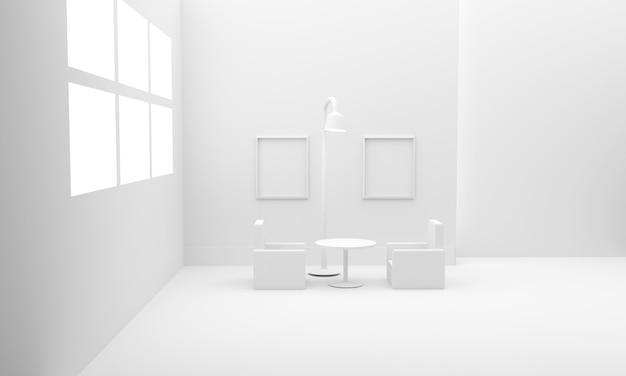 Intérieur de la salle blanche avec des meubles. illustration 3d