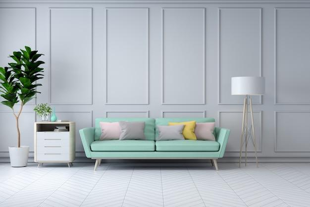 Intérieur de la salle blanche minimaliste, fauteuil vert et plante sur mur blanc / rendu 3d