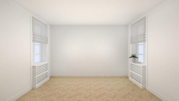 Intérieur de la salle blanche vide de style moderne avec fenêtres et parquet.