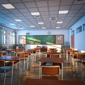 Intérieur d'une salle de classe, parquet et bureaux. concept d'éducation et d'apprentissage. rendu 3d