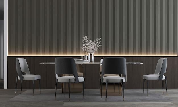 Intérieur de la salle à manger, intérieur de la salle à manger de luxe minimal, mur en bois vide, rendu 3d