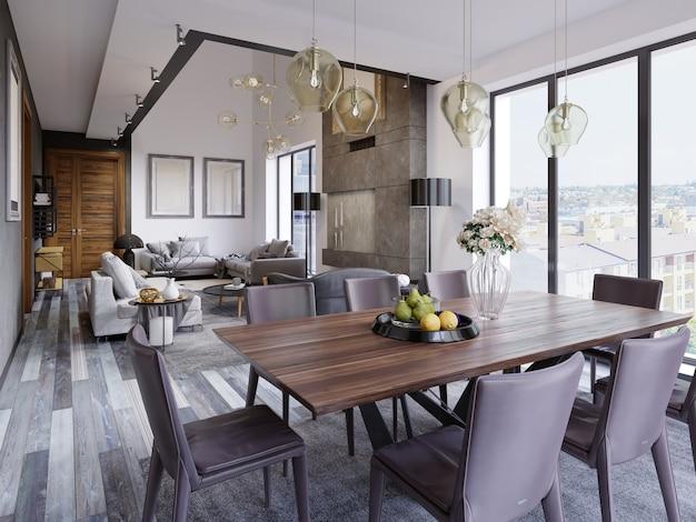 Intérieur de salle à manger moderne et élégant. salle à manger dans maison de luxe. cuisine, salle à manger et salon de l'appartement loft. rendu 3d