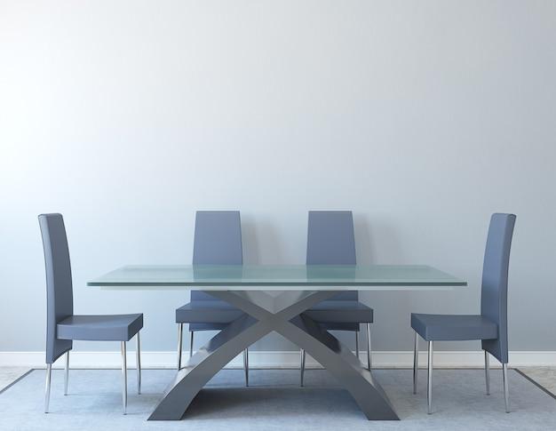 Intérieur de la salle à manger moderne. minimalisme. rendu 3d.