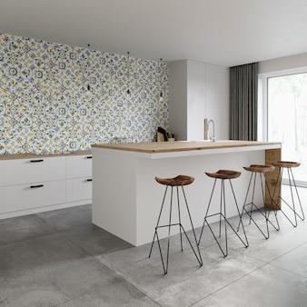 Intérieur d'une salle à manger moderne avec une mosaïque sur le mur
