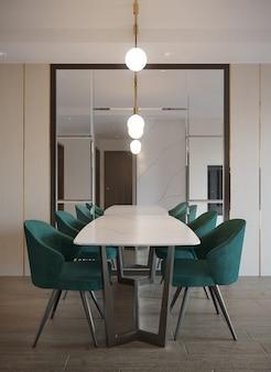 Intérieur de la salle à manger de style moderne avec lustre et miroir mural décorer