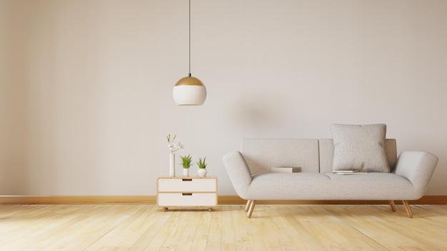 Intérieur de la salle de séjour avec canapé en velours, table. rendu 3d.