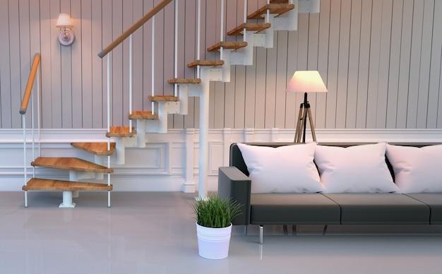 Intérieur de la salle de séjour - lampe de coussin de canapé et plantes, style vide de la pièce blanche. rendu 3d