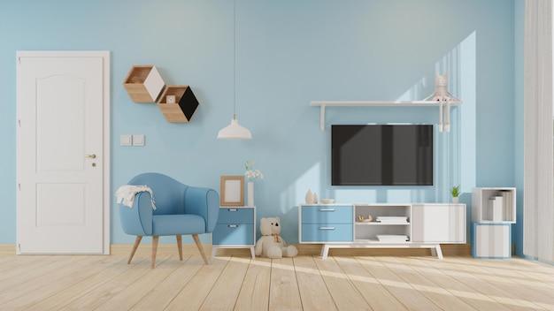 Intérieur de la salle de séjour avec un rendu 3d du fauteuil bleu coloré