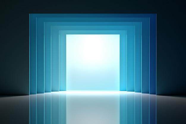 Intérieur de la salle avec tunnel et écran en bleu sur une surface réfléchissante brillante.