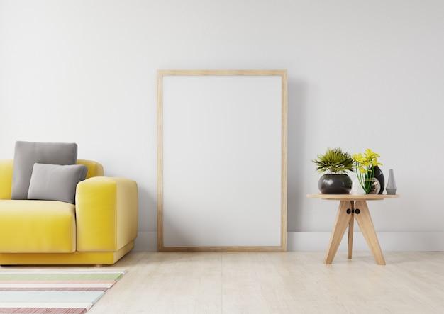 Intérieur de la salle vide avec maquette de fauteuil et affiche jaune.