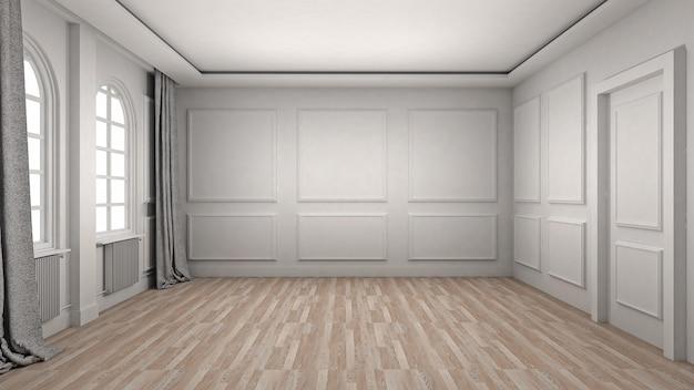 Intérieur de la salle vide avec plancher en bois