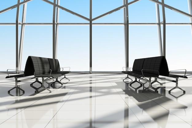 Intérieur de la salle vide avec sièges et grandes fenêtres