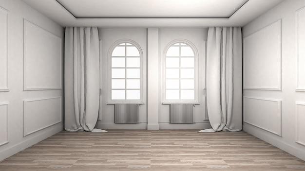 Intérieur de la salle vide de style classique et de luxe de parquet. rendu 3d