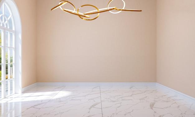 Intérieur de la salle vide de style classique moderne avec sol en marbre, plafonnier et porte en arc, rendu 3d