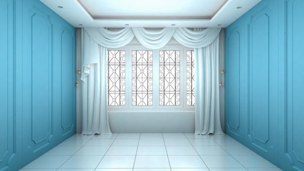 Intérieur de la salle vide de style moderne et de luxe de mur bleu. rendu 3d