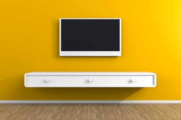 Intérieur de la salle vide avec télévision, salon tv led