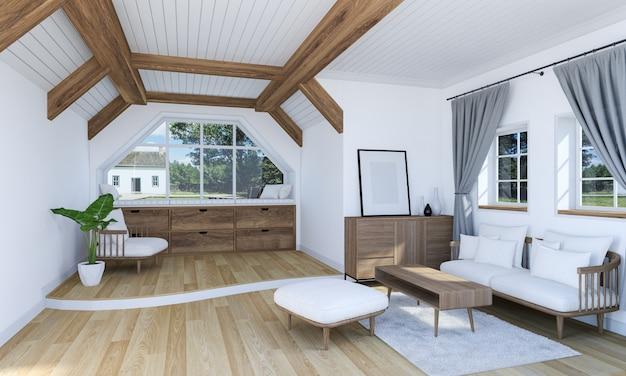 Intérieur de salon blanc avec meubles en bois et plancher sur deux niveaux, rendu 3d